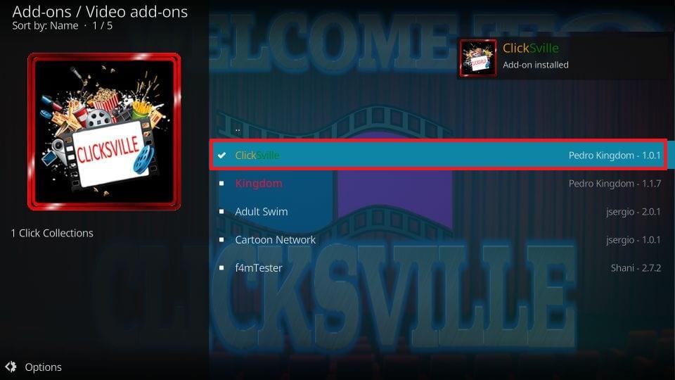 Clicksville installed on kodi notification