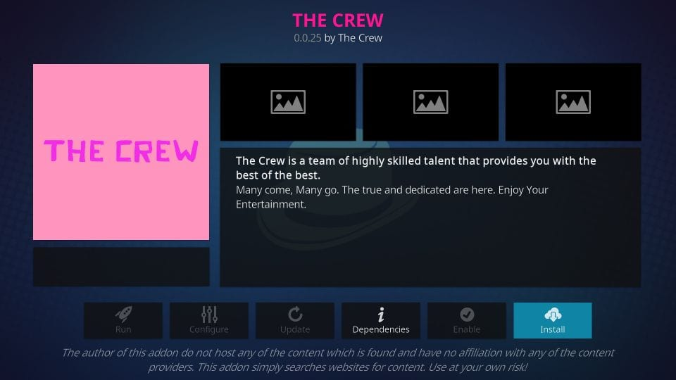 how to get the crew on kodi