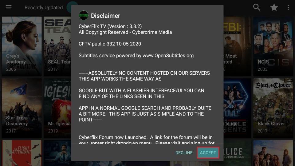 cyberflix disclaimer popup