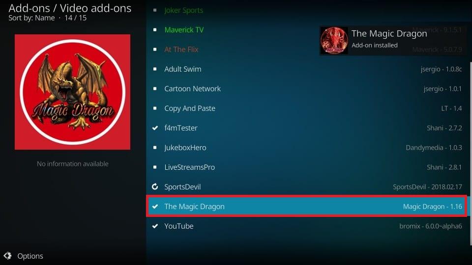 the Magic Dragon installed on kodi notification