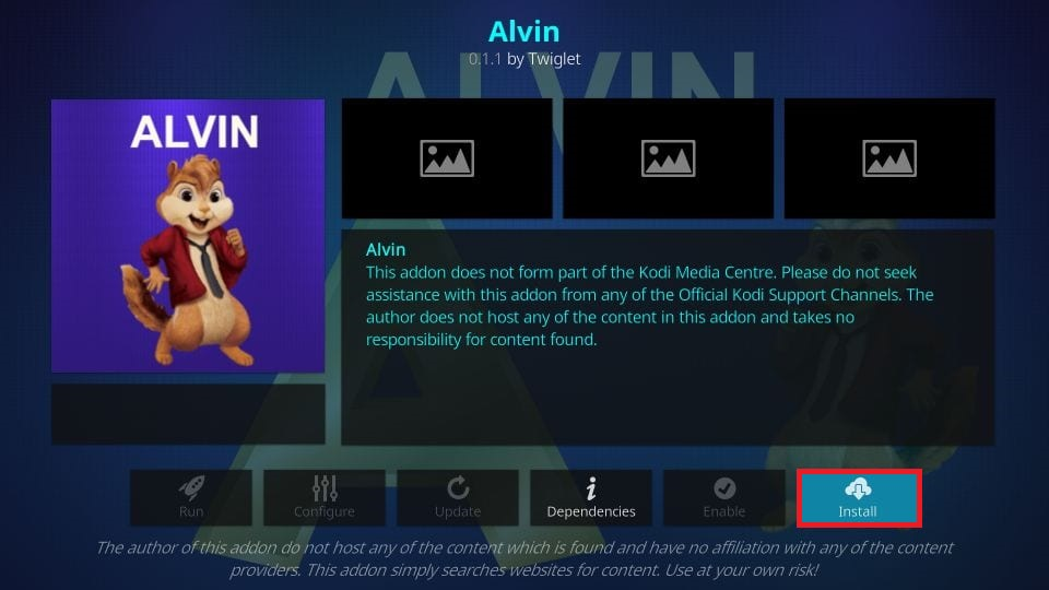 how to install alvin kodi addon