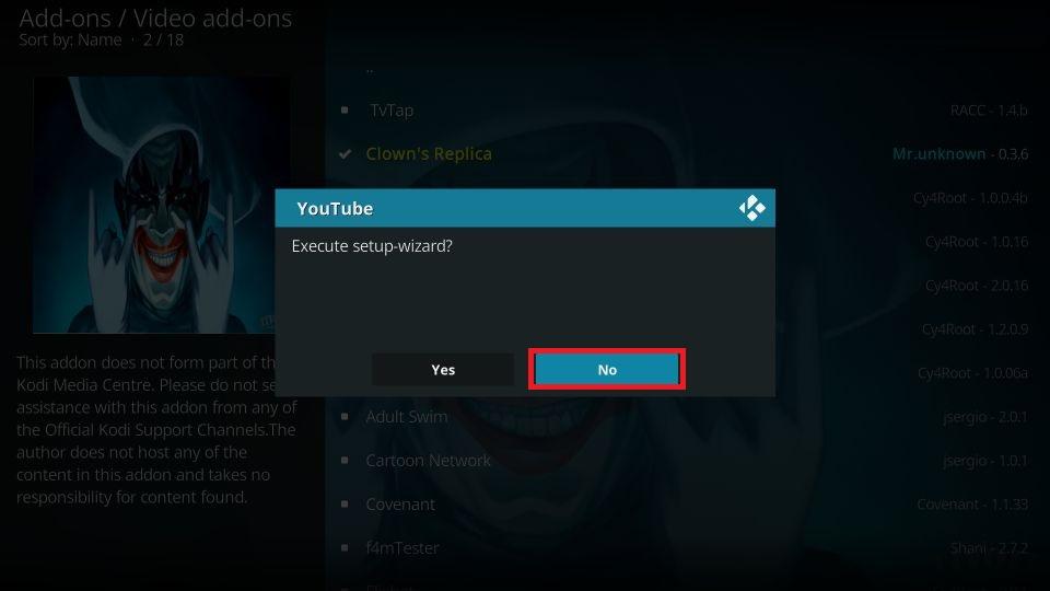 how to install clown's replica addon on kodi
