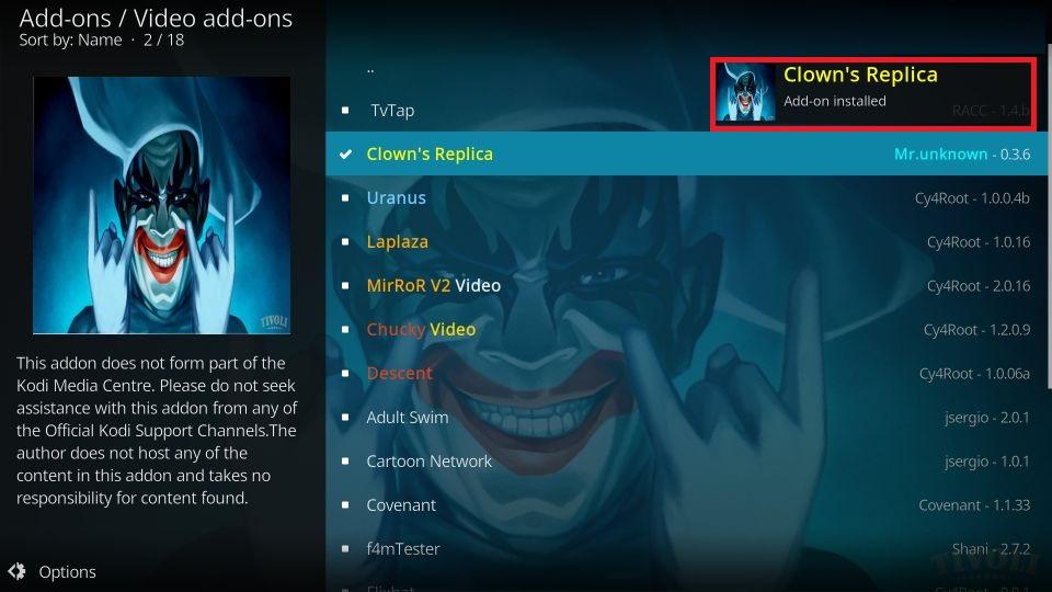 kodi clown's replica addon