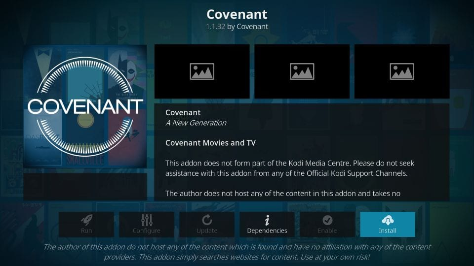 how to install covenant kodi addon