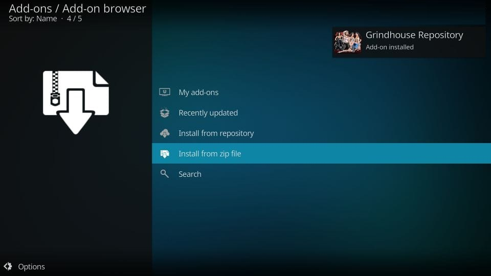 how to install grindhouse kodi build
