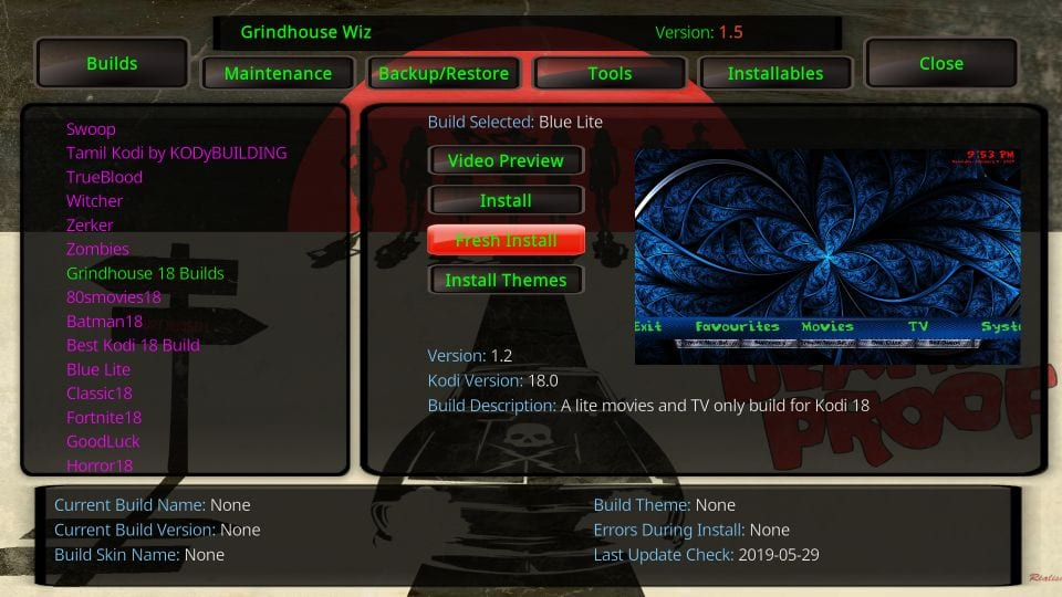 install grindhouse builds on kodi