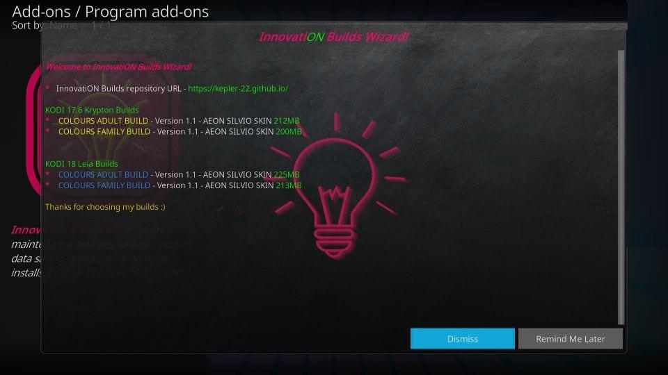 how to install innovation kodi build