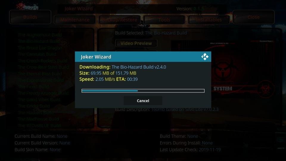 Install Joker build on kodi