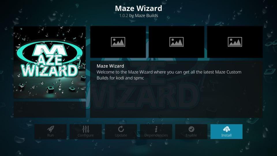Install the maze wizard on kodi