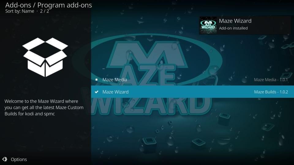 The maze kodi builds