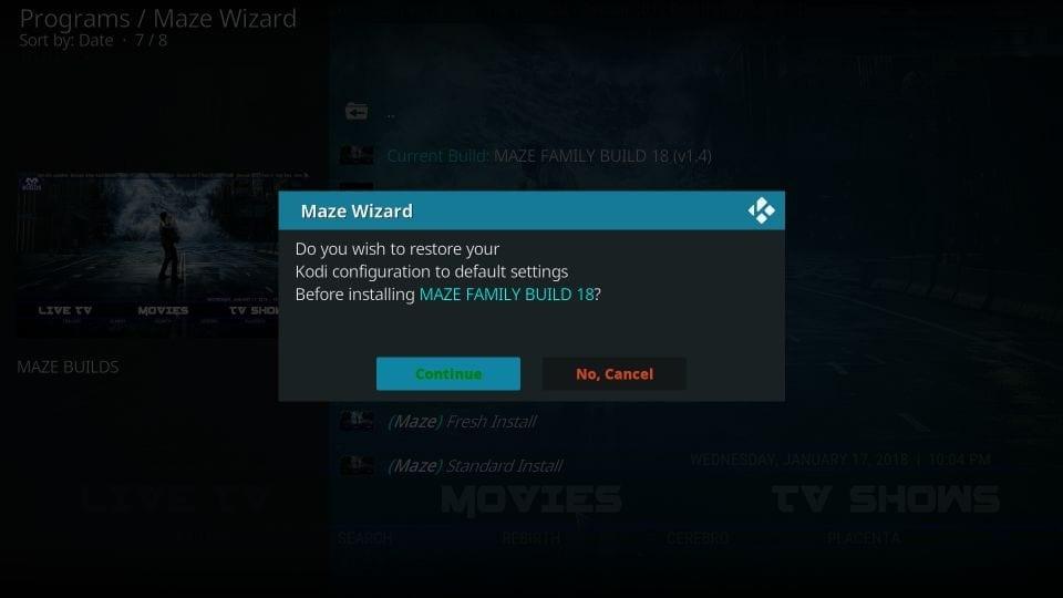restore kodi to default settings