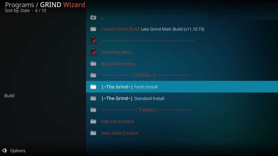 how to use Grind build on kodi