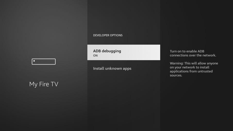 turn on adb debugging to jailbreak amazon firestick