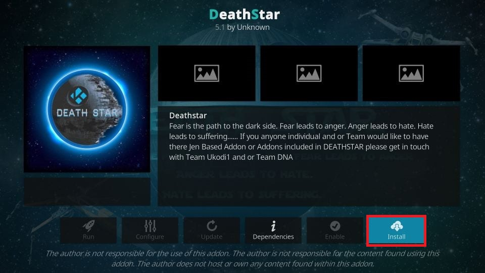 how to install DeathStar kodi addon