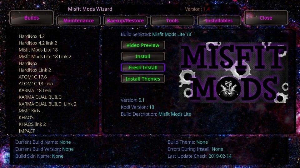 misfit mods kodi build