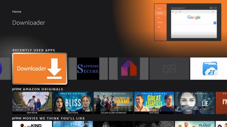 Open the Downloader app to jailbreak firestick with kodi