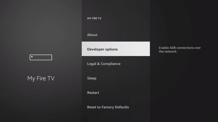 Choose Developer options to jailbreak firestick
