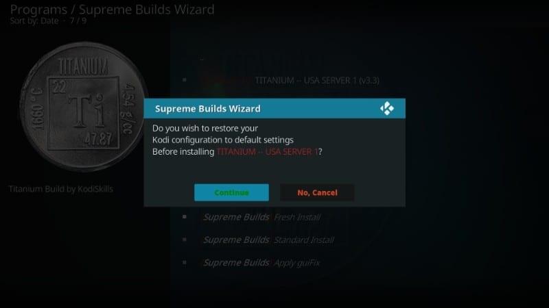 install titanium build on kodi