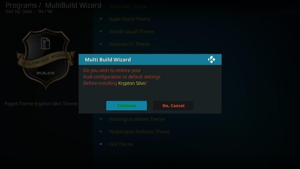 how to load silvo build on kodi
