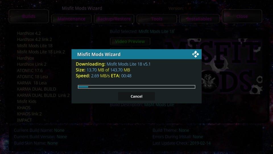 how to install misfit mods kodi build