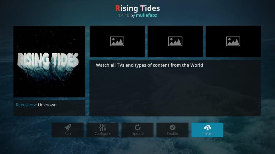how to install rising tides kodi addon