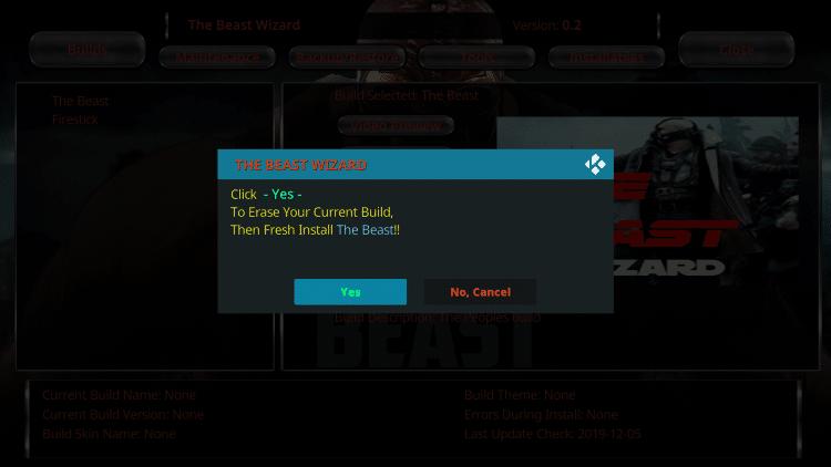 the beast kodi settings