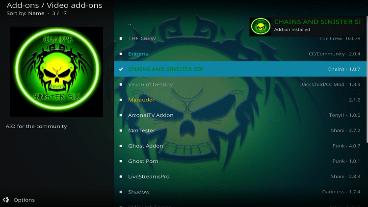 is chains and sinister six kodi addon legal
