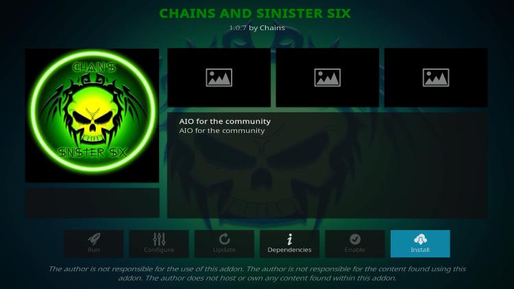 chains and sinister six Kodi Addon