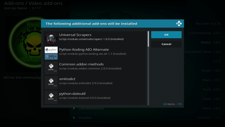 is chains and sinister six kodi addon safe