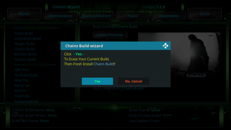 chains kodi build settings