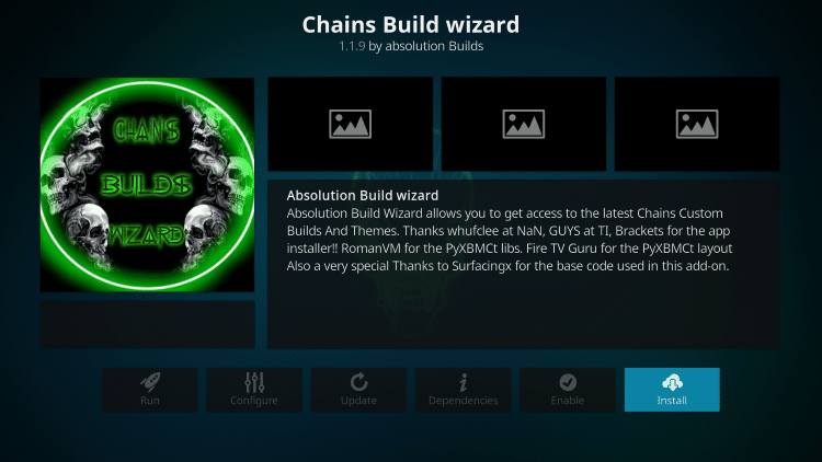 how to install chains kodi build