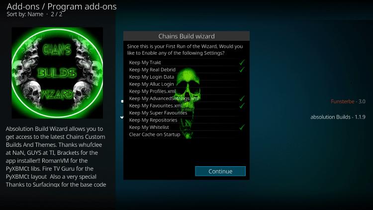 install chains build on kodi