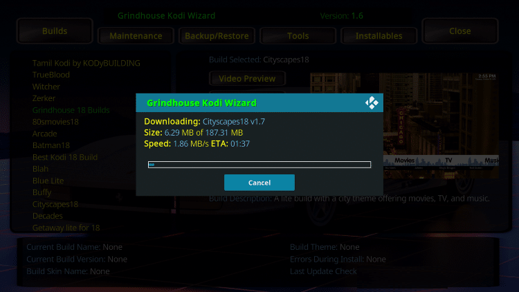 Wait for the Cityscapes Kodi Build to install