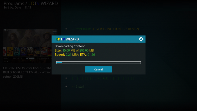 Wait for the Infusion Kodi Build to install