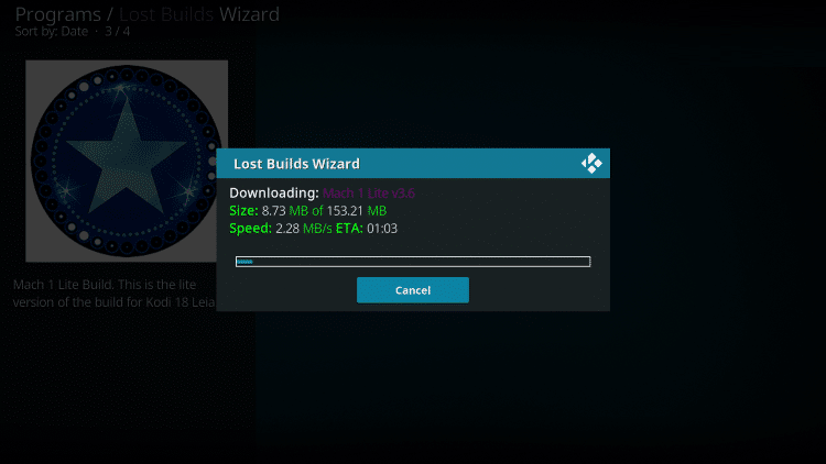 Wait for the Mach Lite Kodi Build to download
