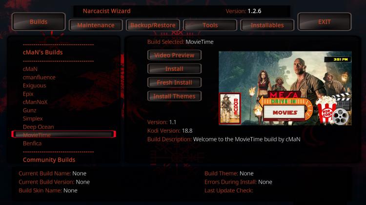 movie time kodi build interface