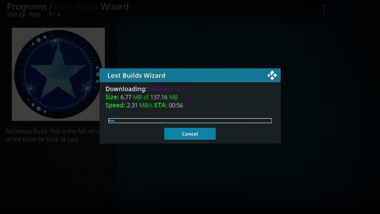 Wait for the Nefarious Kodi build to download