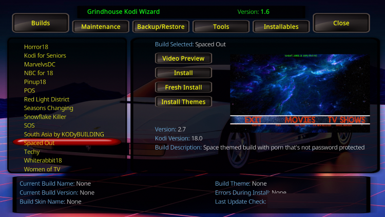 spaced out kodi build system