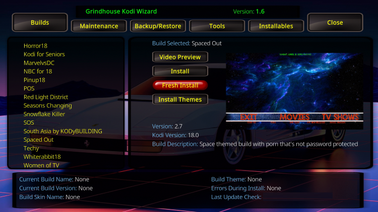 spaced out kodi build overview
