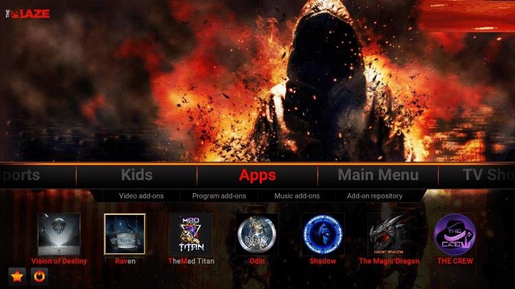 install blaze build on kodi