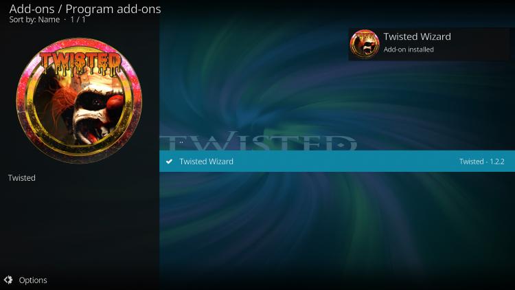 install Twisted build on kodi