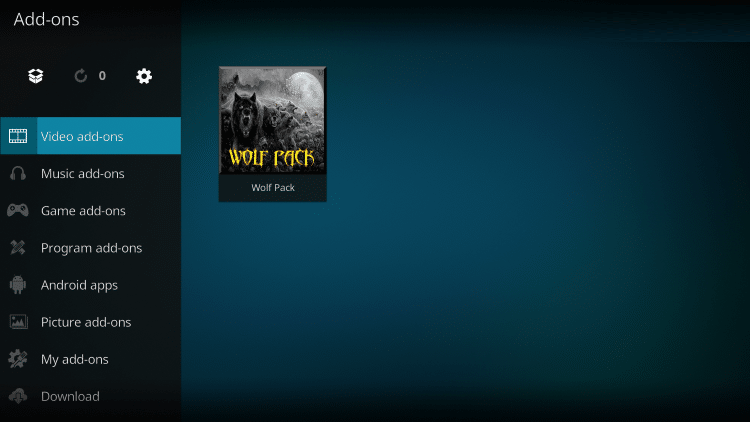 how to download wolfpack addon on kodi