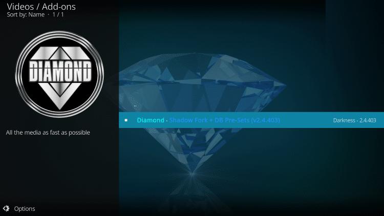 install diamond kodi addon