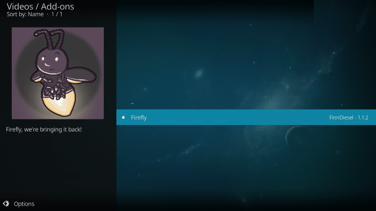 Wait a minute or two for the Firefly Kodi add-on to install