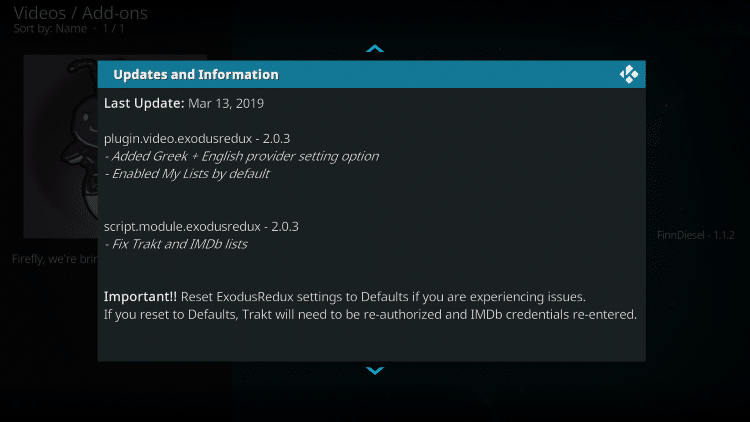 That's it! The Firefly Kodi add-on is now successfully installed