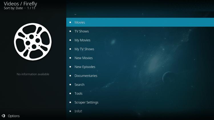 firefly kodi addon categories