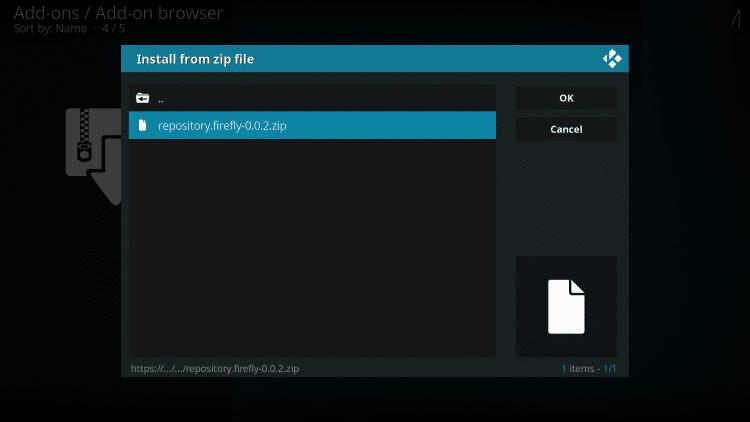 how to install firefly kodi addon